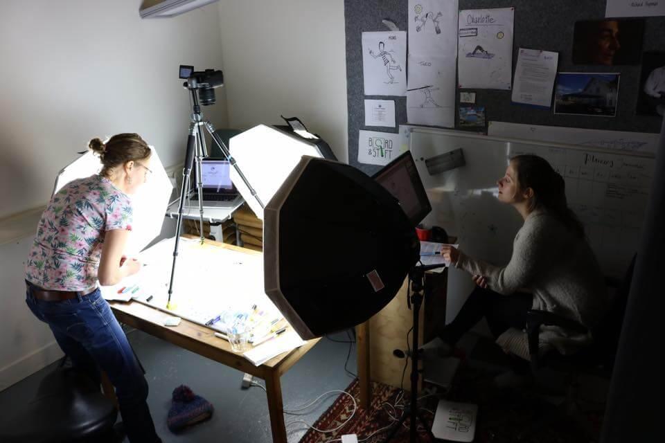 Linda en Mieske aan het filmen en tekenen om weer een mooi getekend filmpje te maken