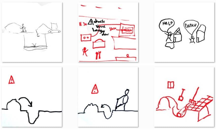 Zes getekende afbeeldingen in zwart en rood waarin monteurs situaties hebben getekend hoe een probleem met een riool kan worden opgelost