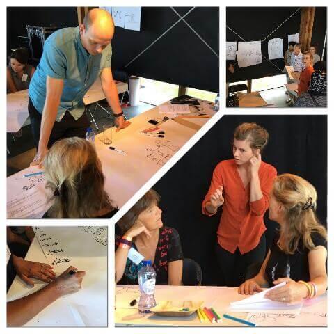 Vier plaatjes van een tekenworkshop waarin mensen met elkaar praten en papieren vellen waar mensen op tekenen in beeld zijn