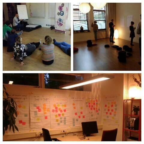 Drie plaatjes waarin de workshop die we van De Hele Olifant volgden te zien is: Bord&Stift'ers zitten op de grond en kijken naar een sheet, post-its plakken op papieren en papieren met post-its die aan de muur hangen.