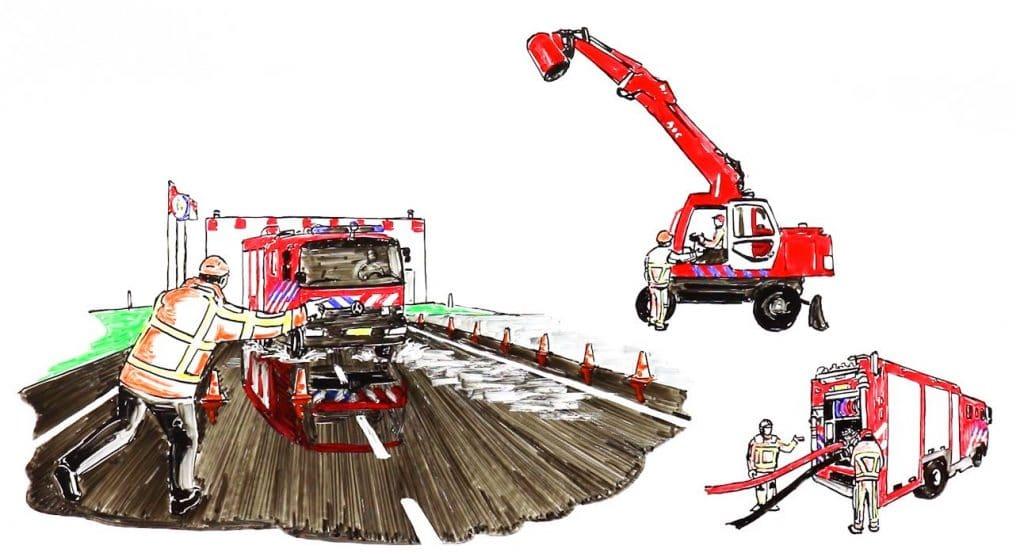 getekende brandweerwagen op snelweg