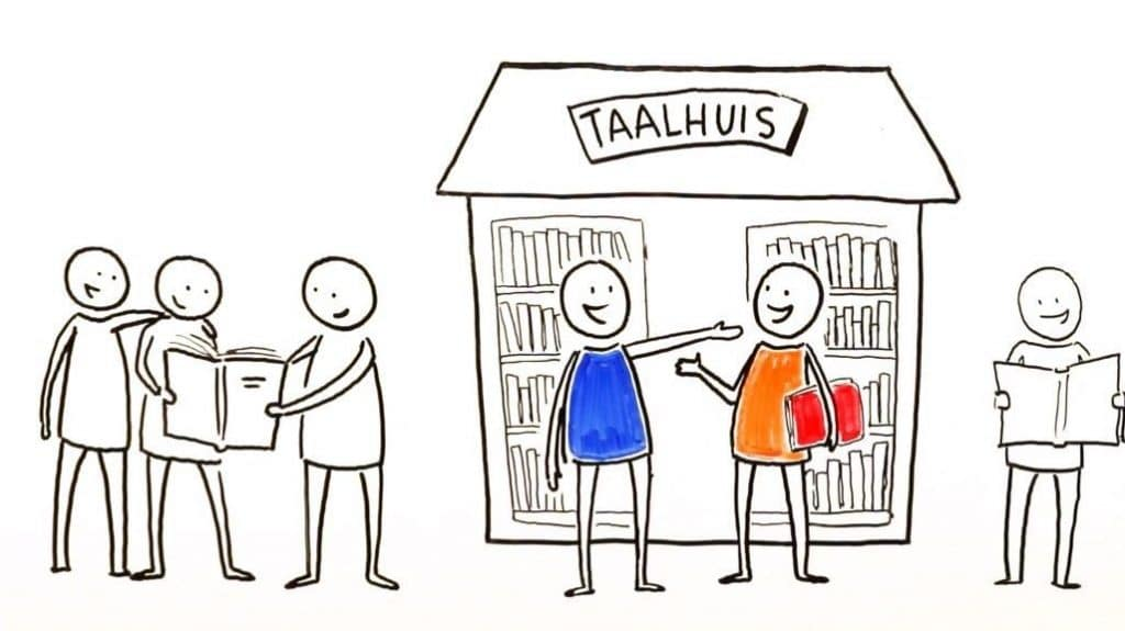 drawn figures, two with a blue and orange sweater for Taalhuis